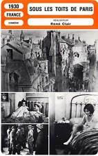 FICHE CINEMA : SOUS LES TOITS DE PARIS - Préjean,Clair 1930 Under The Roofs Of