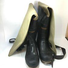 Vtg Hip Rubber Beige Canvas Wader Fishing Boots Felt Bottom Steel Shank Size 10
