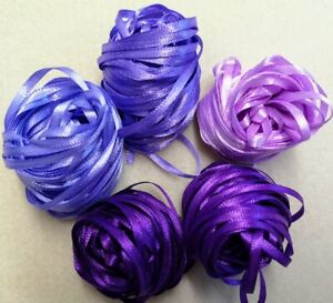"Craft Sew Knit Braid - 50 metres 3mm (1/8"") Narrow Ribbon  - Violet Symphony"