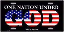 """One Nation Under God Stars and Stripes Novelty 6"""" x 12"""" Metal License Plate Sign"""