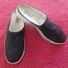 LL Bean Women's Navy Blue Sneaker Mules Slip On Shoes Canvas Size US 10 M