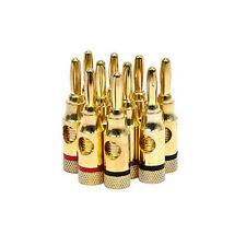 10pcs 5 Pairs Gold plated Copper Speaker Banana Plugs Open Screw Type Quality