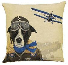 jacquard woven belgian tapestry cushion pillow cover border collie dog bomber pi