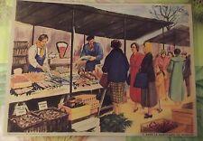 Objet de Métier Affiche Scolaire La Marchande de Poissons Crustacées Coquillage