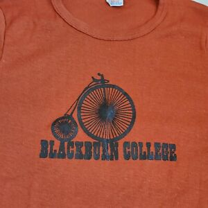 Vintage 70s Champion Blackburn College Shirt Fitted Sz M Bicycle Penny Farthing
