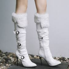 Women Pointy Toe Stiletto Heel Buckle Strap Fur Lined Knee High Boots Warm Shoes