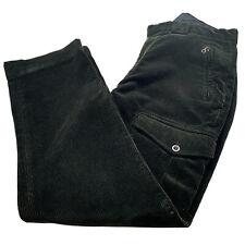 VTG 90's 34 x 30 Polo Ralph Lauren Heavy Dark Green Cargo Corduroy Zipper Pants