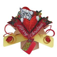 Cat & Heart Petite Christmas Pop-Up Greeting Card Second Nature 3D Pop Up Cards