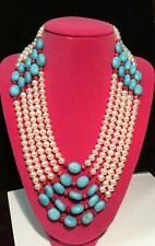 SOUTHWESTERN NATURAL PEARL, BLUE TURQUOISE, AND RED CORAL FIVE ROW NECKLACE