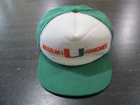 VINTAGE Miami Hurricanes Snap Back Hat Cap Green White Trucker Football 90s *