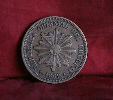 1869 A Uruguay 2 Centesimos Bronze World Coin KM2 Radiant Sun Face Wreath Nice