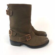 Dune Size 37 US6 UK4 Brown Leather Ankle Zip Buckle Biker Rider Booties Boots