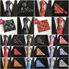 Men's Paisley Floral Necktie Pocket Square Flower Ties Handkerchief Set HZ208