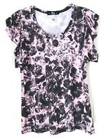 Abbey Dawn Womens XL  Cringed Short sleeve Lilac  Black Top