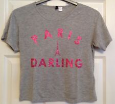 Ladies Cropped Grey T-Shirt, H&M, Size S