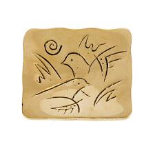 Decorative Square Plate, Handmade of Solid Brass, Dove Birds Design, 3.7''x3.7''