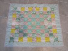 Hand Made Flannel Patchwork Baby Quilt  in Pastel Flannels