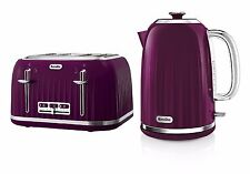 Breville Impressions Kettle and Toaster Set Purple/Damson Kettle 4 Slice Toaster