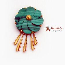 Carved Malachite Flower Brooch Pendant Ornate Dangles 14K Yellow Gold 1940