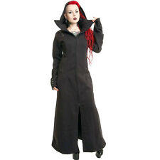 Poizen Industries Ladies Raven Coat Black Gothic Full Length Long Steampunk Size 16 (extra Large)