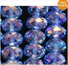 Wholesale Faceted Crystal Loose Charm Glass Beads Light Blue AB 6*8mm 70pc