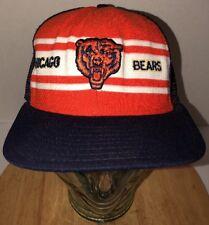 VTG CHICAGO BEARS 80s USA Trucker Hat Cap Snapback AJD SUPERSTRIPE NFL Football