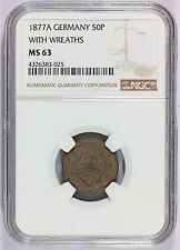 1877-A Germany 50 Pfennig With Wreaths Silver Coin KM# 8 -  NGC MS 63 - RARE
