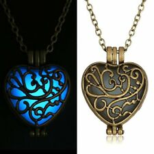 Retro Drop Pendant Luminous Glow In The Dark Locket Necklace Jewelry Gift Hollow