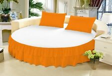 1 Piece 100% Egyptian Cotton Solid Twin Ruffle Round Bed Skirt with 15 Inch Drop
