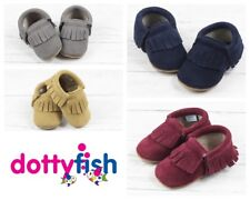 Dotty Fish Suede Baby Moccasins Toddler Infant Booties Boys/Girls 0-6mth-18-24m