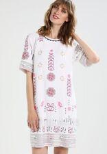 White Stuff Aster Linen Mix Embroidered Dress Size 10 UK White