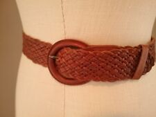 Abercrombie & Fitch Braided Wide Braided Leather Belt Sz Small Brown Boho