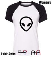 Cartoon UFO Alien FACE Design Women's Girl's T-Shirt Casual Graphic Tee Tops