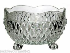 Vintage Indiana Glass Diamond Point Clear Crystal Footed Scalloped Edge Bowl EUC