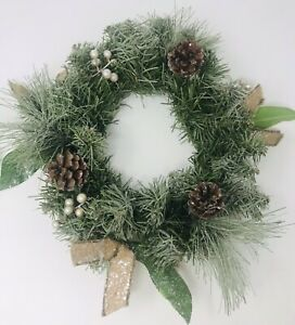 """Pine Wreath Frosted Glitter Pine Cones Berries Christmas Winter 12"""""""