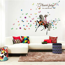 Riding Horse Elf Girl Room Home Decor Removable Wall Stickers Decals Decoration