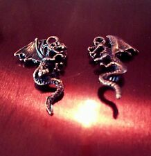 4 Dragon Charms Fairytale Pendants 2 Sided Medieval Findings Antiqued Copper