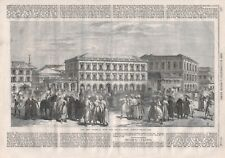 OLD ANTIQUE 1865 PRINT THE NEW ORIENTAL BANK AND SHARE MARKET BOMBAY B170