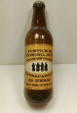 Justice is coming Tombstone Sarsaparilla root beer bottle Used. Exc Cond!