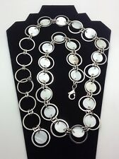 """Abalone Shell Silvertone Metal Chain Belt  31 - 38"""" long Size Medium Sturdy"""