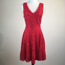Express Women Red Lace Dress Sleeveless V-Neck Holiday Valentine Size 8 MSRP $88