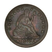 Raw 1874 Seated Liberty 25C w/ Arrows Uncertified US Mint Silver Quarter Coin