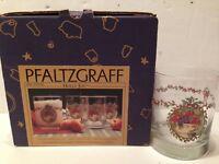 NIB Set 4 PFALTZGRAFF Holly Joy  Double Old Fashioned Glasses 12oz FOUR