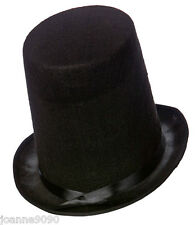 ADULT MENS 20CM TALL BLACK STOVEPIPE VICTORIAN FANCY DRESS COSTUME FELT TOP HAT