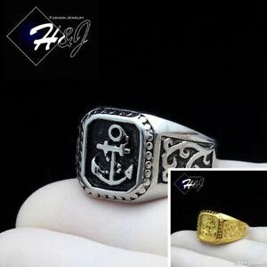 BIKER MEN Stainless Steel Silver/Black/Gold Anchor Ring*R128
