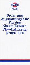 Datsun Nissan Preisliste 10/82 300 ZX Silvia Laurel Micra car price list 1982