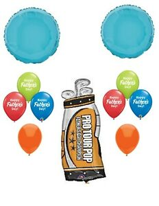 Happy Fathers Day Balloons Golf Mylar & Latex Balloon Bouquet Dads Day Blue 11p