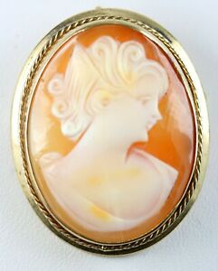 12K Gold Filled Victorian Cameo Pendant Brooch 6.9g