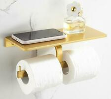 New Space Aluminum Brushed Gold Toilet Paper Holder Double Bar With Phone Shelf