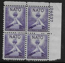 US Scott #1008, Plate Block #24637 1952 NATO 3c FVF MNH Upper Right